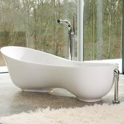 Victoria + Albert unveil their Cabrits tub, crafted from ENGLISHCAST which is rich in volcanic limestone. The tub's shape mirrors the contours of the body, offering improved support and comfort. Cabrits uses less water and heat than conventional tubs.