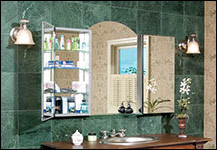2 Century Cabinets / flush mount glass shelf / arched mirror / Stocked in Chicago